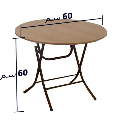 طاولة خشبية دائرية قطر 60 سم وارتفاع 60سم