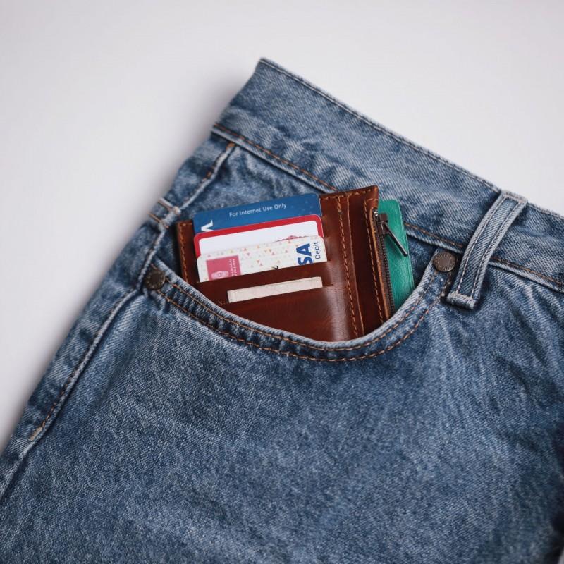 محفظة شبابية جلد طبيعي