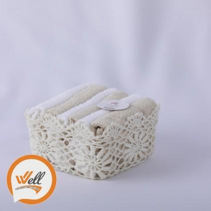سلة بشاكير 6 قطع crochet 30x30cm