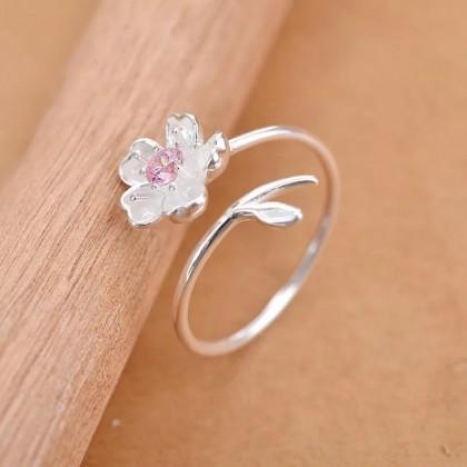 خاتم فضة 925 على شكل وردة