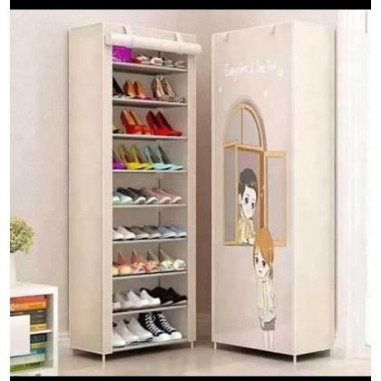 خزانة احذية بيج مع رسمة 9 ارفف