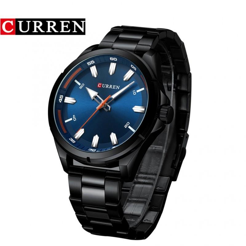 ساعة شبابية بحزام معدني لون أسود من Curren