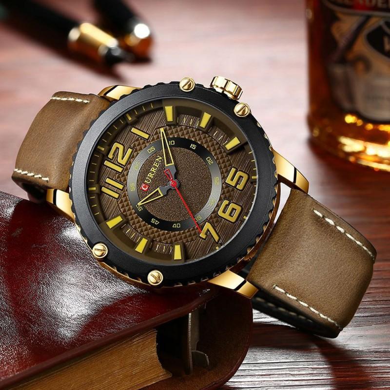 ساعة جلد بني ماكينة كوارتز يابانية شبابية من CURREN
