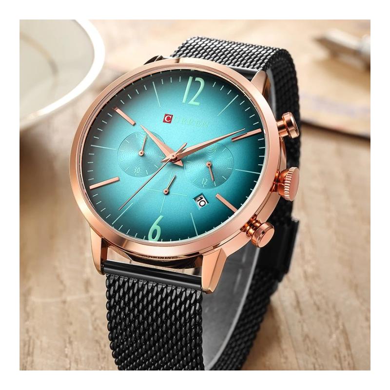 ساعة كورين كرونوغراف شبابية حزام معدني خفيف لون اسود مع معرف التاريخ من CURREN