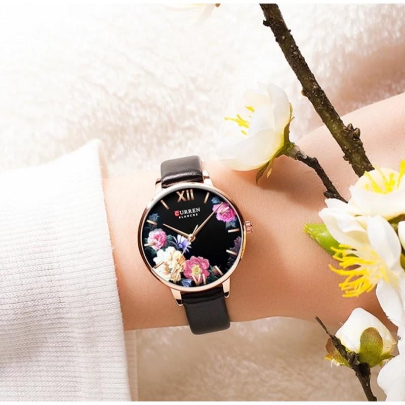 ساعة ستاتية حزام جلد لون اسود من CURREN